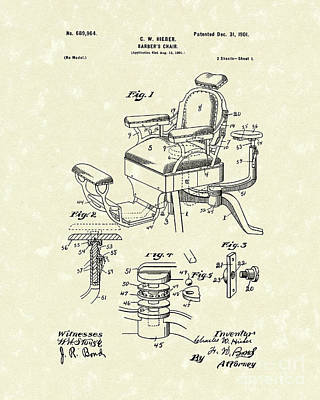 Chair Drawing - Barber's Chair 1901 Patent Art by Prior Art Design