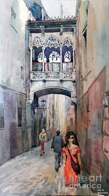 Watercolor Painting - Barcelona by Natalia Eremeyeva Duarte