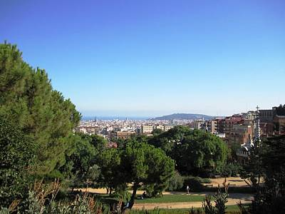 Barcelona Panoramic View From Park Guell In Spain Art Print by John Shiron