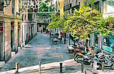 Barcelona Digital Art - Barcelona Streets by Yury Malkov