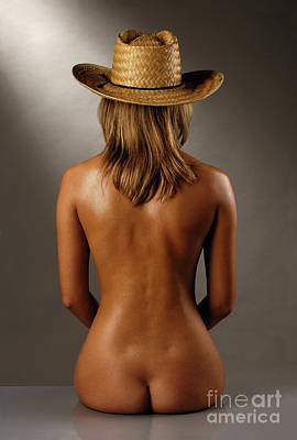 Bare Back Of A Suntanned Woman In A Straw Hat Art Print