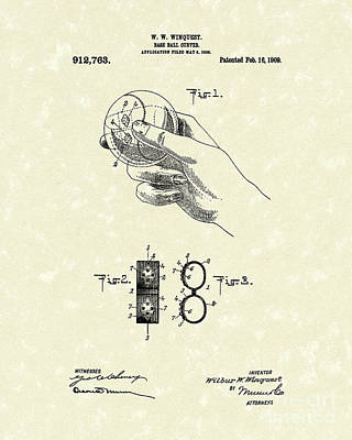 Baseball Drawings Drawing - Bare Ball Curver 1909 Patent Art by Prior Art Design