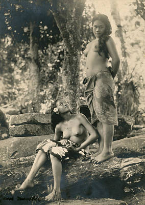 Bare-breasted Marquesas Islands Girls Art Print by J.W. Church