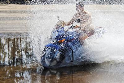 Bare Chest Rider Splash Art Print by Kantilal Patel