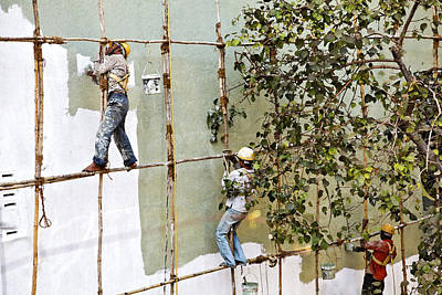 Artist Working Photograph - Bare Foot Decorators Wooden Scaffold India by Kantilal Patel