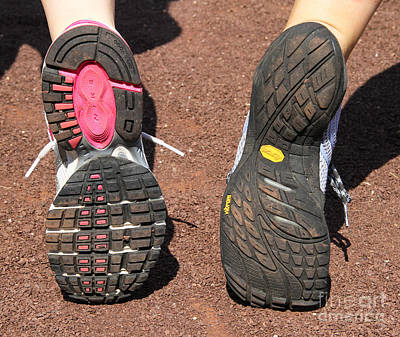 Barefoot Running Shoe And Normal Print by Photo Researchers, Inc.