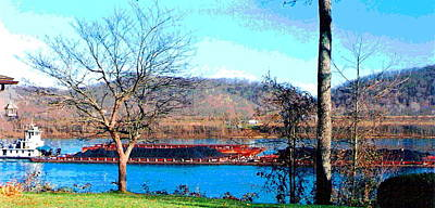 Barge On Ohio River At Flood Stage Art Print by Padre Art