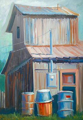 Barn And Barrels Art Print by Virginia White