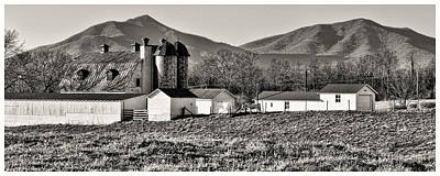 Photograph - Barn And Mountain Range by Steve Hurt