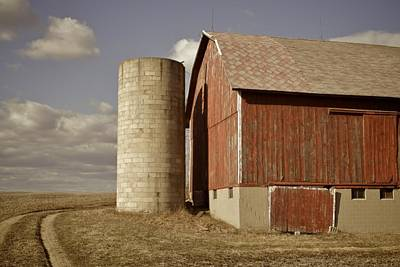 Brick Silos Photograph - Barn And Silo by Odd Jeppesen