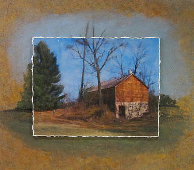 Mixed Media - Barn And Tree Layered by Anita Burgermeister