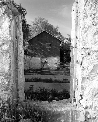 Barn Foundation On County G Original by Jan W Faul