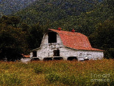 Art Print featuring the photograph Barn In Mountains by Lydia Holly