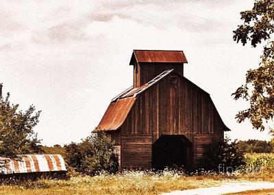 Fall Bushes Digital Art - Barn In The Fall by Marsha Heiken