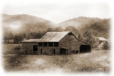 Black And White Photograph - Barn In The Mist by Barry Jones