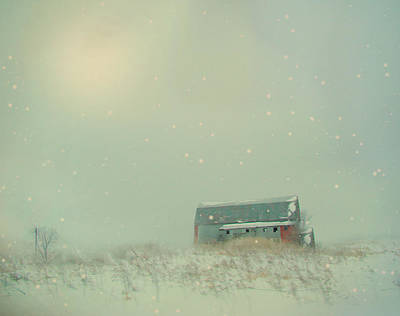 Barn In Winter Art Print by Gothicrow Images