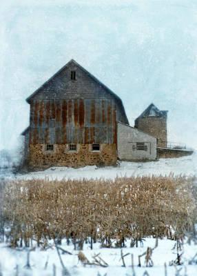 Cornfield Photograph - Barn In Winter by Jill Battaglia