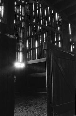 Photograph - Barn Interior True Bw by Katherine Huck Fernie Howard