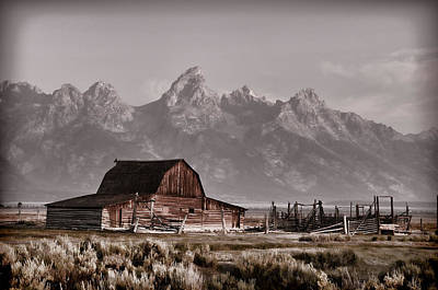 Photograph - Vintage Barn And The Grand Tetons by Ken Smith