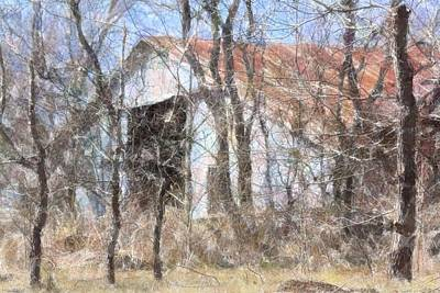 Photograph - Barn Through Trees by Donna G Smith