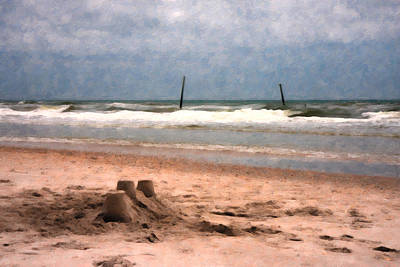 Lazy Digital Art - Barnacle Bill's And The Sandcastle by Betsy Knapp