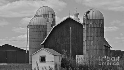 Photograph - Barns And Silos Black And White by Pamela Walrath