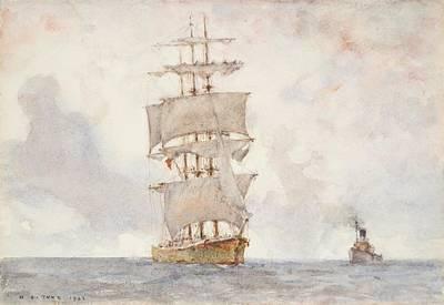 Barque And Tug Art Print by Henry Scott Tuke