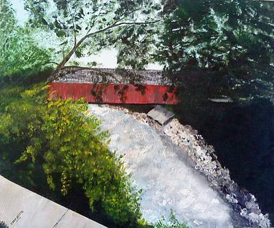 Barrackville Covered Bridge Art Print by Carol Van Sickle