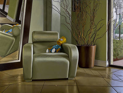 Bart On Chair W Mirror Art Print by Tony Chimento