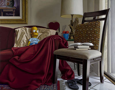Interior Still Life Painting - Bart On Couch With Red Blanket by Tony Chimento