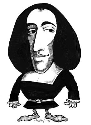 Baruch Spinoza, Caricature Art Print by Gary Brown