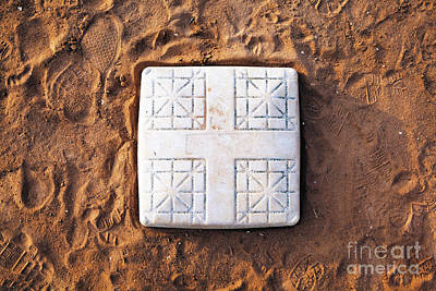 Base On Baseball Field Art Print by Skip Nall