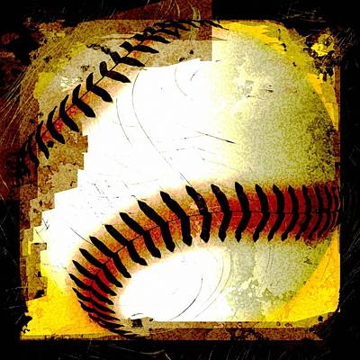 Baseball Abstract Art Print by David G Paul