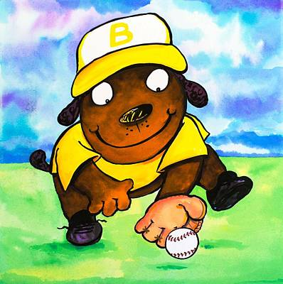 3rd Base Painting - Baseball Dog 3 by Scott Nelson