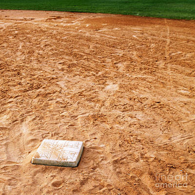 Baseball Field Base Art Print by Skip Nall