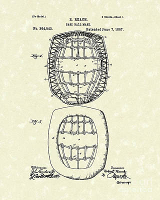 Sporting Goods Drawing - Baseball Mask 1887 Patent Art by Prior Art Design
