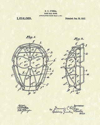 Sporting Goods Drawing - Baseball Mask 1912 Patent Art by Prior Art Design
