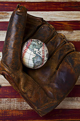Photograph - Baseball Mitt With Earth Baseball by Garry Gay