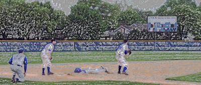 Baseball Playing Hard Digital Art Art Print by Thomas Woolworth