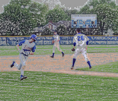 Baseball Runner Heading Home Digital Art Print by Thomas Woolworth