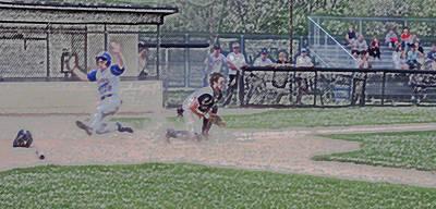 Baseball Runner Safe At Home Digital Art Art Print by Thomas Woolworth