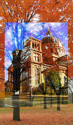 Digital Art - Basilica And Fall Trees by Anita Burgermeister