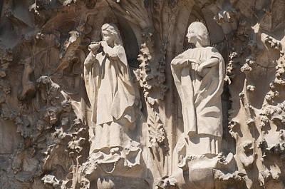 Photograph - Basilica Sagrada Familia Nativity Facade Detail by Matthias Hauser