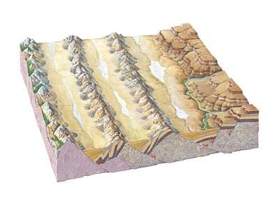 Basin-and-range Landscape, Artwork Art Print by Gary Hincks