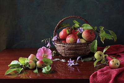 Food And Drink Photograph - Basket Of Apples And Blue Flowers by Panga Natalie Ukraine