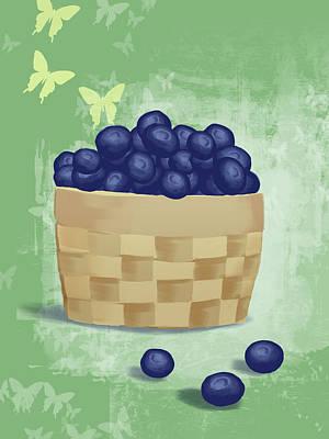 Blueberry Digital Art - Basket Of Fresh Blue Berries Illustration by Don Bishop