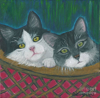 Painting - Basket Of Kitties by Ania M Milo