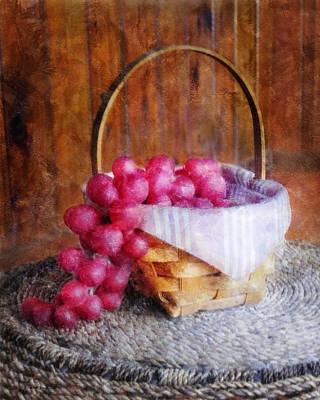 Digital Art - Basket Of Red Grapes by Francesa Miller