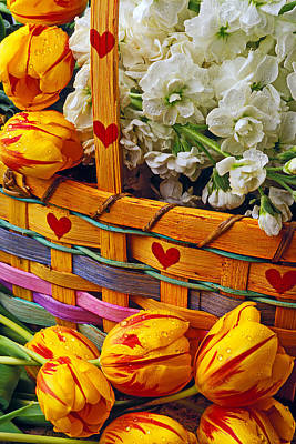 Photograph - Basket Of Spring Flowers by Garry Gay
