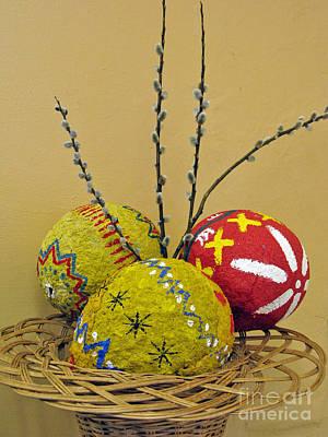 Basket With Papier-mache Eggs Art Print by Ausra Huntington nee Paulauskaite